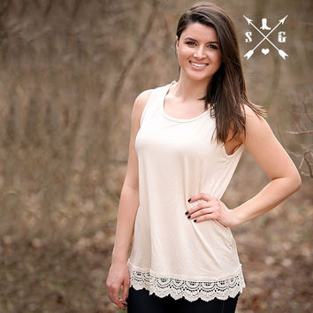 Southern Grace Ivory Solid Tank with Crochet Lace