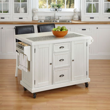 Home Styles Furniture 5022-958 Nantucket Distressed White 36.25-Inch Kitchen Cart and Two Stools