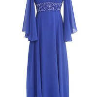Dressystar 3/4 Sleeves V neck Bridal Formal Evening Dresses with Beaded Waist