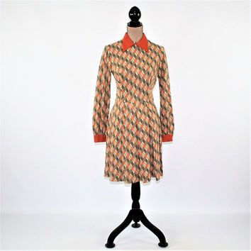 60s Dress Women XS Small Long Sleeve Dress Midi Mod Print Orange Dress Geometric Full Skirt Dress 1960s Lanz Vintage Clothing Women