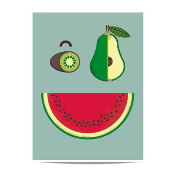 Print Fruit face Kiwi, pear and watermelon. Fruits illustration for the kitchen, kids room or dining room. Poster.