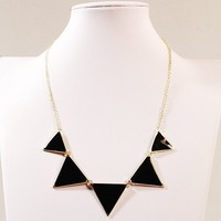 Jane Stone Chunky Multi Triangle Frontal Balance Collar Bib Necklace Classic Elegant Statement Jewelry Wedding Business Party(Fn0568-Black)