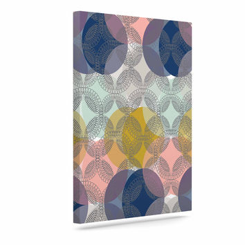 "Maike Thoma ""Retro Spring"" Blue Pink Canvas Art"