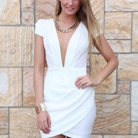 White Plunge Capped Sleeve Dress with Wrap Skirt