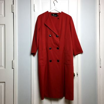Authentic vintage 90's red oversized women's trench coat sz XL