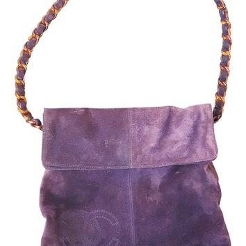 *CHANEL* VINTAGE PURPLE SUEDE JUMBO FLAP MESSENGER SHOULDER BAG