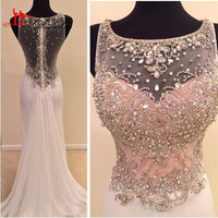vestido de festa 2017 Swarovski Crystal Beads Mermaid Prom Dresses Sparkly Scoop Neck Sheer Illusion Long Formal Evening Gowns