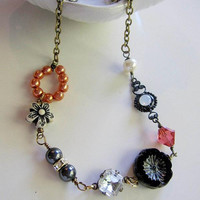 Bohemian Fall Necklace, Black Pansy Orange Crystal Beaded Necklace, Swarvoski Pearls, Antique Brass Chain, Blueartichokedesigns