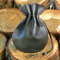 Large Black Leather Pouch, Soft Leather Pouch Bag,