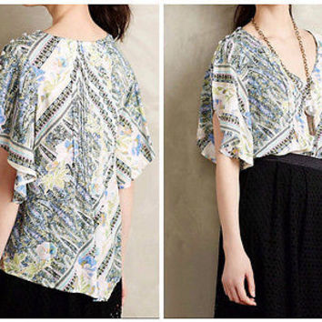 Anthropologie Fluttered Maya Blouse Sz 8 by Maeve - NWT