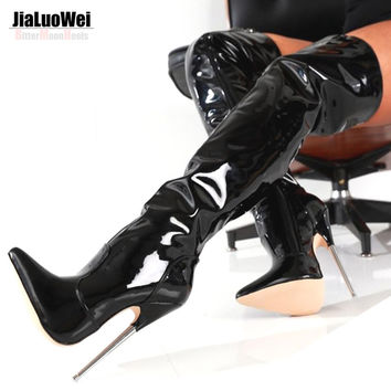 "6 1/4"" Trend Women Winter Boots High Heels Patent Leather Boots Female Heel Plain Stretch Crotch Thigh High Boot Black Plus Size"
