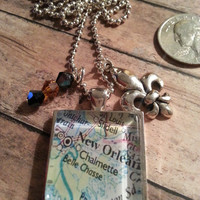 New Orleans Necklace map with two charms