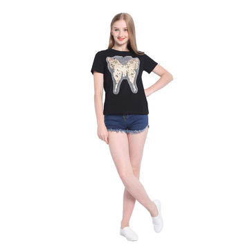Summer Women's Fashion Butterfly Ladies Short Sleeve Tops [10710152391]