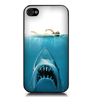 iPhone case includes screen protector and cleaning cloth Shark  girl Design. Available in black or white