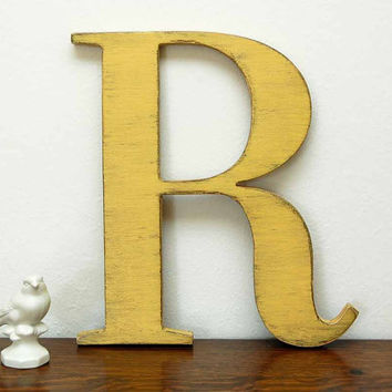wall letter R wooden letters cottage decor signage Yellow YOU CHOOSE