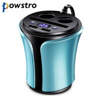 Powstro Dual USB Car Charger Cup 5V 3.1A Mobile Charger Cup Splitter 140W 2 Cigarette Lighter Socket  12-24V for Phone Tablet