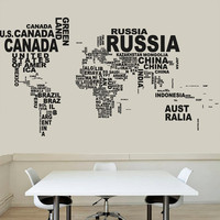 Wall Decal Vinyl Sticker Decals Art Decor Design Map of The World Mural Modern Map Counrty Names Word Sign Bedroom Style  (r658)