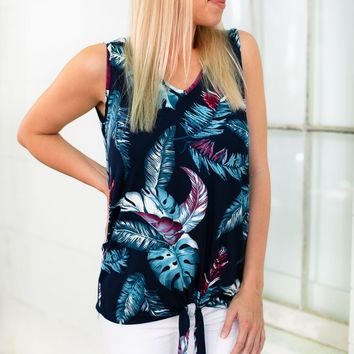 Relax Tie Front Tropical Print Top
