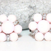 Womens Vintage Pale Pink Lucite and Rhinestone Rondelle 1950s Green Cluster Clip on Earrings