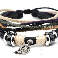 Couple Bracelets Leather Rope Bracelet Jewelry Bangle Cuff by mooli