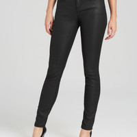 Eileen Fisher Black Coated Skinny Jeans in Black