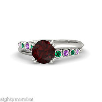 Round Multi-Color Gemstone Disney Princess Wedding Ring White On Sterling Silver