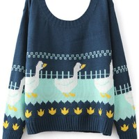 Swagger Duck Print Pullover Sweater - OASAP.com
