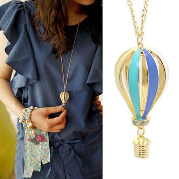 New Fashion Colorful Jewelry Aureate Drip Hot Air Balloon Pendant Long Necklace