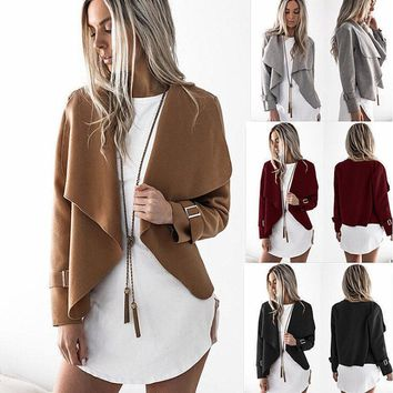 Women Autumn Cardigans Jacket Turn-down Collar Long Sleeve Outerwear LY539