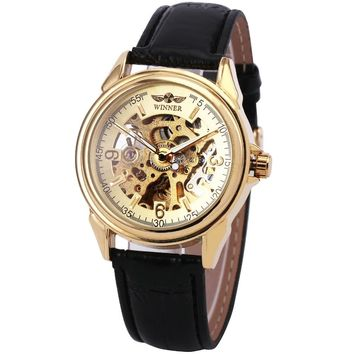 2016 WINNER Top Fashion Men Women Automatic Mechanical Watch Leather Strap Luminous Hands Lover's Wristwatch with Skeleton Dial