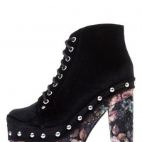 Jeffrey Campbell Shoes CHERITA in Black Velvet Brown Floral Velvet