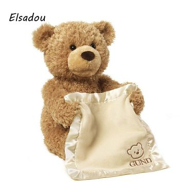 Elsadou 30cm Peek a Boo Teddy Bear lay Hide and Seek Cartoon Plush Toy Cute Music Bear Doll Best Christmas Gift