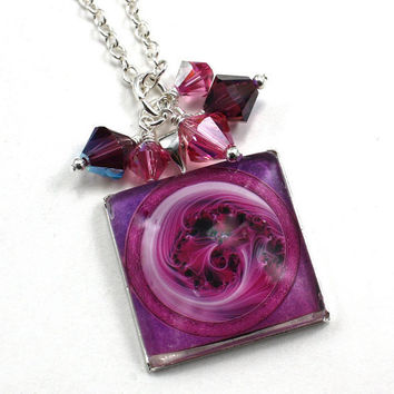 Fibonacci Cotton Candy Swirl Square Glass Tile Dome Swarovski Crystal Cluster Pendant