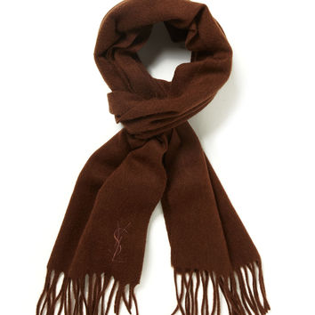 Yves Saint Laurent Men's Wool Embroidered Logo Fringed Scarf - Friar Brown