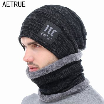47c46cec3d51c AETRUE Winter Knitted Hat Beanies Men Women Scarf Caps Mask Gorr