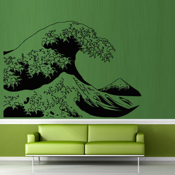 Wall decal art decor decals sticker wave water ocean sea mountain landscape bathroom design mural (m932)