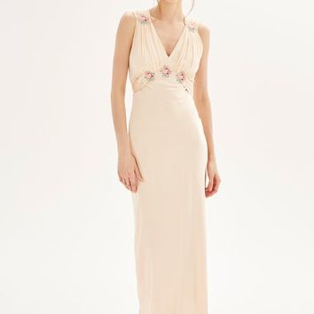 **Silk Embroidered Maxi Dress - Dresses - Clothing