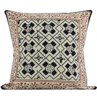 "16"" Black Indian Hand Block Print Throw Pillow Cover"
