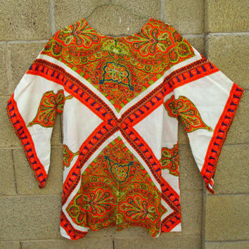 Vintage African Dashiki Tribal Tunic Ethnic Top Shirt Boho Mini Dress Festival Blouse