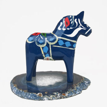 Vintage Dala Horse Olsson Grannas Blue Wooden Swedish Folk Art Made Sweden Wood Home Decor Christmas Hand Painted Authentic Dalahasten Retro
