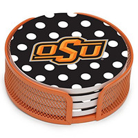 Thirstystone VOSU2-HA25 Stoneware Drink Coaster Set with Holder, Oklahoma State University Dots