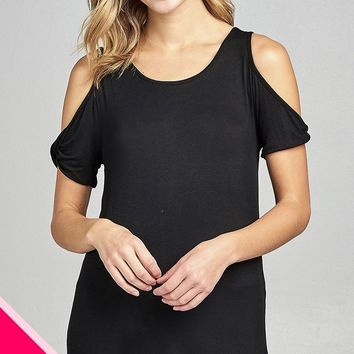 Ladies fashion plus size cold shoulder w/twisted short sleeve round neck rayon spandex top