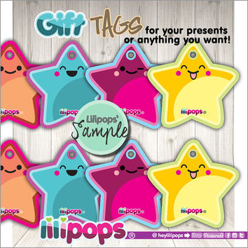 Favor Tags - Kawaii Stars - Stars Gift Tags - Printable Tags - Stars Labels - Cute Gift Tags - Printable Stars - Instant Download - DIY Star