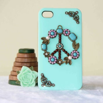 iPhone case anti war peace sign pearl inlaid flowers case for iPhone 5 iPhone 4 iPhone 4s phone case friendship love gifts summer trending