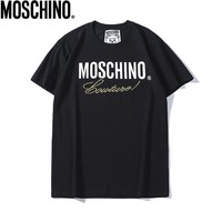 MOSCHINO Fashionable Women Men Casual Letter Print Round Collar T-Shirt Top Black
