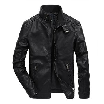 2018 New brand motorcycle leather jacket men jaqueta de couro masculina men PU Faux leather Bomber jacket Male Coats & Jackets