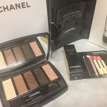 Chanel Entrelacs Eyeshadow Palette Rouge Allure Hydra Beauty Gift Set With Bag