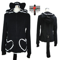 Jrock Gothic Lolita Black Bunny Love Pocket Tail Hoodie Cotton Rock Cute Jacket