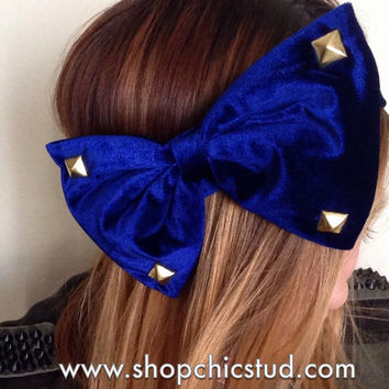 Studded Headband - Large Velvet Bow - Black or Royal Blue Headband - Silver, Black or Gold Studs