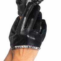 Sexy Cropped Faux Leather Stud Trimmed Gloves